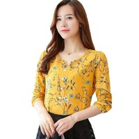 Women Elegant Long Sleeve V-neck Floral Print Blouses Pullover Chiffon Blouse OL Shirts Casual Loose Shirt Women Tops Plus Size