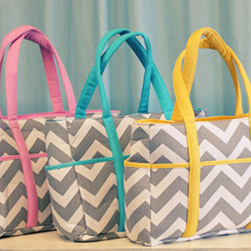 Personalized Pink and white on gray chevron Diaper bag/ bags /purse