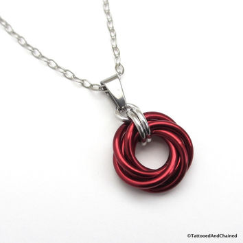 Red chainmaille love knot pendant