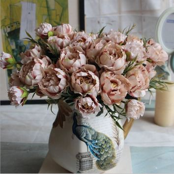 1 Bouquet 8 Heads Pretty Wedding Mini Rose Artificial Silk Flower bouquet Flores Bride Home Decoration Cheap Fake Peony Flower