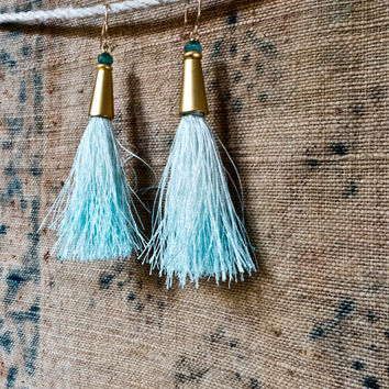 TASSEL EARRINGS - Gold and Bright Ice Blue Ombre - Silk Tassel Jewelry - Chic - 20s Revival - Simple and Elegant