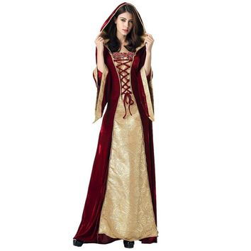 Medieval Dress Robe Women Renaissance Dress Princess Queen Costume Velvet Court Maid Vintage Gown Vampire Halloween Costume