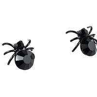 Black Stone Widow Spider Stud Earrings Elegant Lolita Style Cosplay
