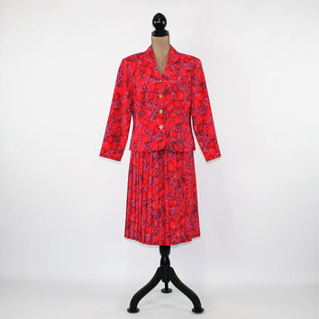 Vintage 80s 90s Pleated Skirt Suit Spring Red Tulip Print Medium 2 Piece dress Size 10 Vintage Clothing Womens Clothing