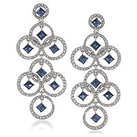 Carolee Holiday Cocktails Dramatic Open Work Earrings - Silver/Blue/Cr