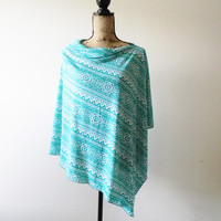Navajo Print Poncho/ Nursing Poncho/ Breastfeeding Poncho/ Nursing Cover/ Summer Poncho/ Nursing Shawl/ Aztec/ Tribal