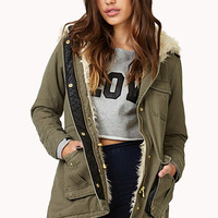 FOREVER 21 Faux Shearling Parka Olive/Cream