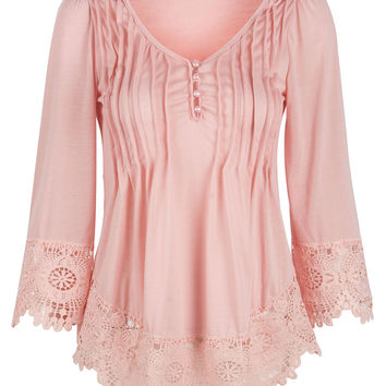 Pink V-neck Ruched Lace Trim Cropped Sleeve Blouse