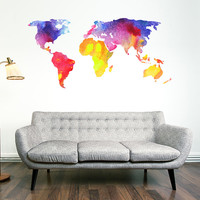 Watercolour World Map Wall Decal