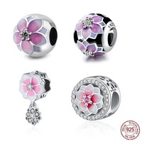 DIY 4 Style Flower Authentic 925 Sterling Silver Charms Bead Fit Original Pandora Charms Bracelet & Bangle Jewelry Gift XPCYHC