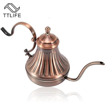 TTLIFE Stainless Steel Long Spout Coffee Kettle Teapot Tea Kettle Tools Pour Over Coffee Cup Kitchen Tools Hand Punch Drip Pot