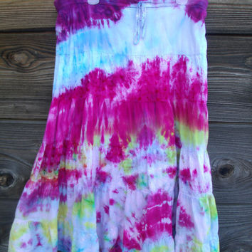 Tie Dyed Cotton LongHippie Skirt