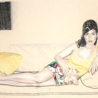 Original hand drawn portrait of Amy Winehouse, in charcoal and pastel on calico