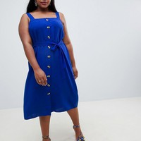 New Look Curve Button Through Midi Dress at asos.com
