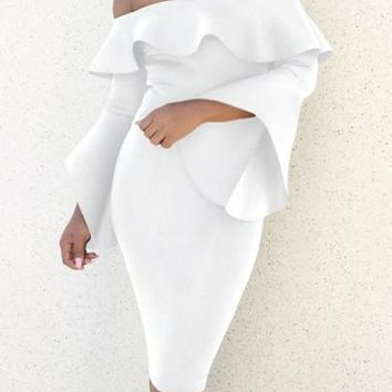 White Ruffle Backless Off Shoulder Flare Sleeve Bodycon Prom Party Midi Dress