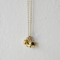 Long necklace animal piggy and acorn 24 ct gold plated pendant
