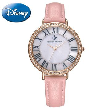 New Disney Women dress best quality rhinestone leather antique watch Girl fashion casual quartz watch Top famous hour Hot 51155