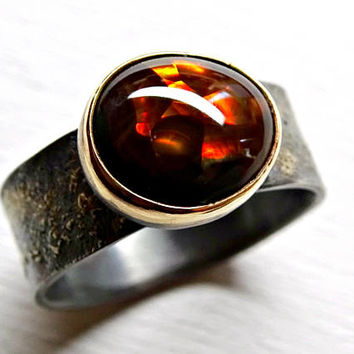 fire agate ring gold silver, celtic promise ring, viking engagement ring, fire agate proposal ring gold fusion ring, mens pinkie ring unique
