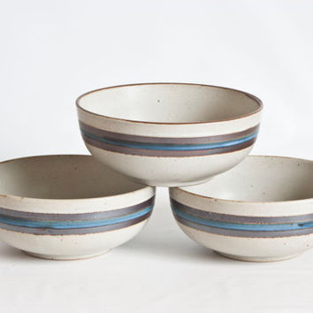 One Vintage Otagiri Horizon Soup Bowl, Stoneware Blue Band Otagiri Chili Bowl, Oven Table Dishwasher Safe, Made in Japan (Sold Separately)