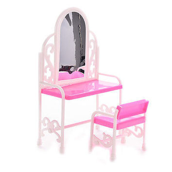 1 Set Hot Dressing Table Chair for Barbies Kids Girls Play House Bedroom Toy
