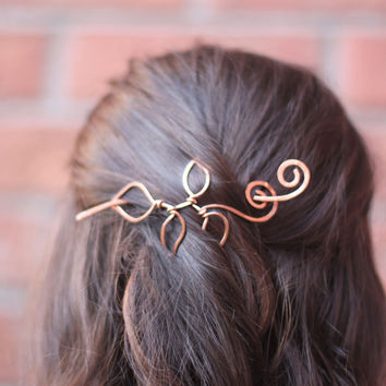 Vine with leaves hair slide in copper - Hair accessories - Hair barrette - Hair pin - Shawl pin - Twig pin