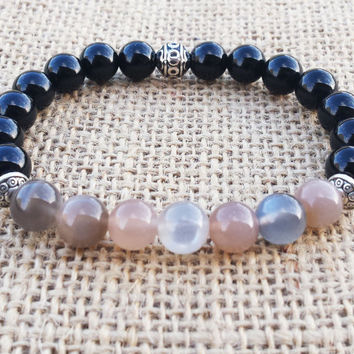 MOONSTONE Bracelet Black Onyx Bracelet Gray Moonstone Passionate Love Protection Stone Unisex Bracelet Gifts For Lovers