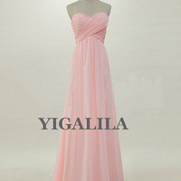 ON SALE Lady dress/Custom Blush pink Sweetheart Floor-length Chiffon Long Prom/Evening/Party/Homecoming/Bridesmaid/Formal Dress New Arrival