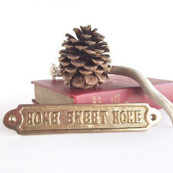 Vintage Brass Home Sweet Home Nameplate