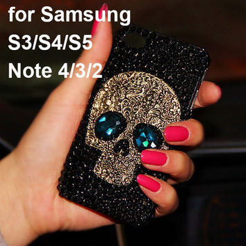 Skull Skeleton Blue Eyes Bling Cases for Samsung Galaxy S7/S6 Edge S6 Edge Plus S3 S4 S5 S6 Note 5 4 iPhone 6 6 Plus 5s 5 SE 5C