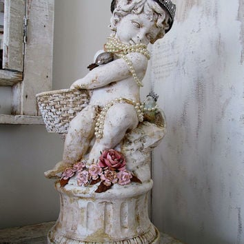 Cherub putti statue w/ blue bird shabby cottage chic large angelic figure w/ embellished crown and pearls home decor anita spero design