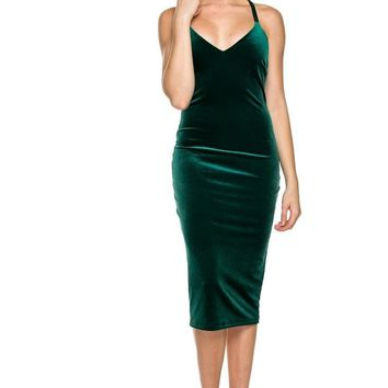 The Spark Green Velvet Bodycon Dress