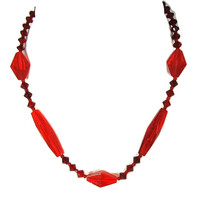 Ruby Red Czech Glass Bead Crystal Choker Necklace Art Deco