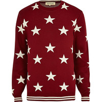 River Island MensRed star print sweater