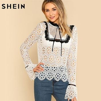 SHEIN Sexy Womens Tops and Blouses White Long Sleeve Contrast Frill Detail Eyelet Guipure Lace Top Flounce Sleeve Blouse