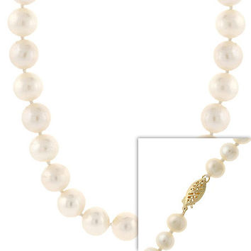 """9-10mm  Hand Knotted Genuine Freshwater Cultured White Pearl 14k Gold Filigree Clasp Necklace 18"""""""""""