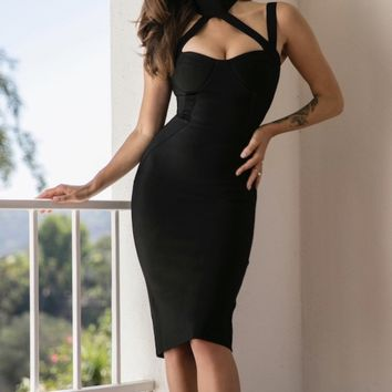 Keaton black Triangle cutout dress