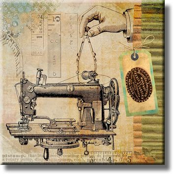 Scientific American Munn & Co American & Foreign Sewing Machine Vintage Picture on Stretched Canvas, Wall Art Décor, Ready to Hang