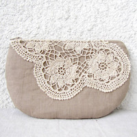 Linen and  vintage doily small clutch zipper pouch by HelloVioleta