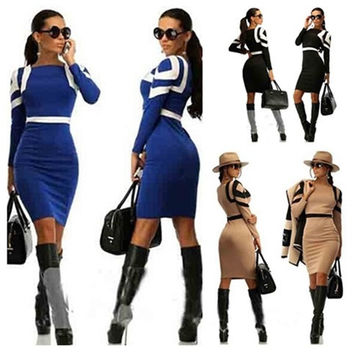 Women Fashion Pencil Dress Long sleeve Round neck Bodycon Slim Casual Sexy = 1956692932