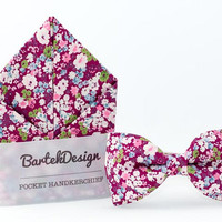 Wedding Set Bow Tie & Pocket Handkerchief Magenta Purple Pink Flowers