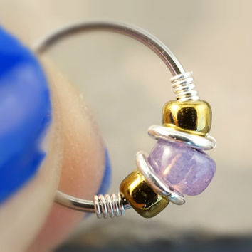 Lavender and Bronze Nose Hoop Ring or Cartilage Hoop Earring 18 or 20 Gauge