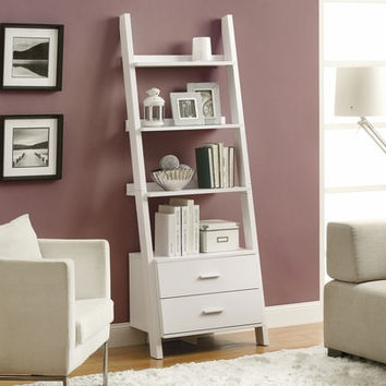 """White 69""""H Ladder Bookcase with 2 Storage Drawers"""