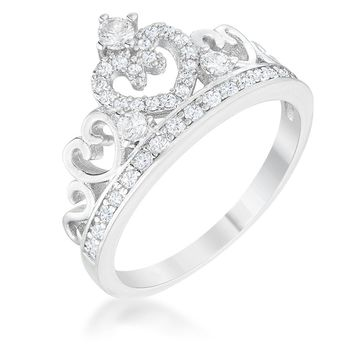 Aurora 0.34ct CZ Rhodium Heart Crown Ring, Size 5