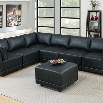 Poundex F806 7 pc Clayton II collection black bonded leather upholstered modular sectional sofa