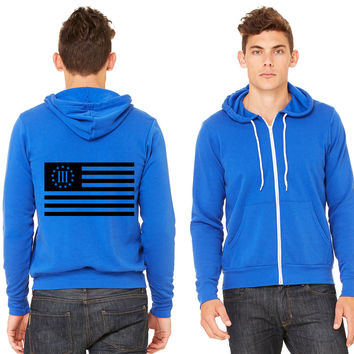 3 percenter flag Zipper Hoodie