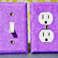 LIGHT PURPLE ANGEL DUST Glitter Switch Plate Outlet Covers SET of 2. ALL Styles Available!