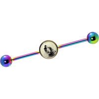 Glow in the Dark Howling Wolf Industrial Barbell in Rainbow Titanium