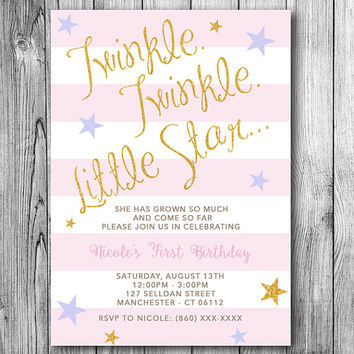 Twinkle Twinkle Little Star Invitation Girls First Birthday Girl Kids Party Invite Pink Lavender Gold Sparkle Baby (Printable File Download)