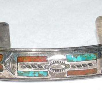 Southwestern Sterling Silver Bracelet, Turquoise Coral Highly Detailed, vintage jewelry