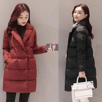 CREYONHS 2017 New Collection Womens Winter Cotton-padded Parka Thick Coat Long Sleeve Autumn Slim Solid Warm Flare Jacket Women Outwear